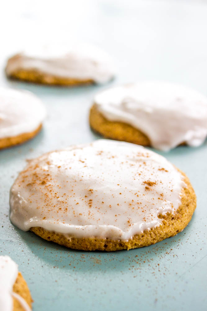 Iced Pumpkin Cookies on sheet