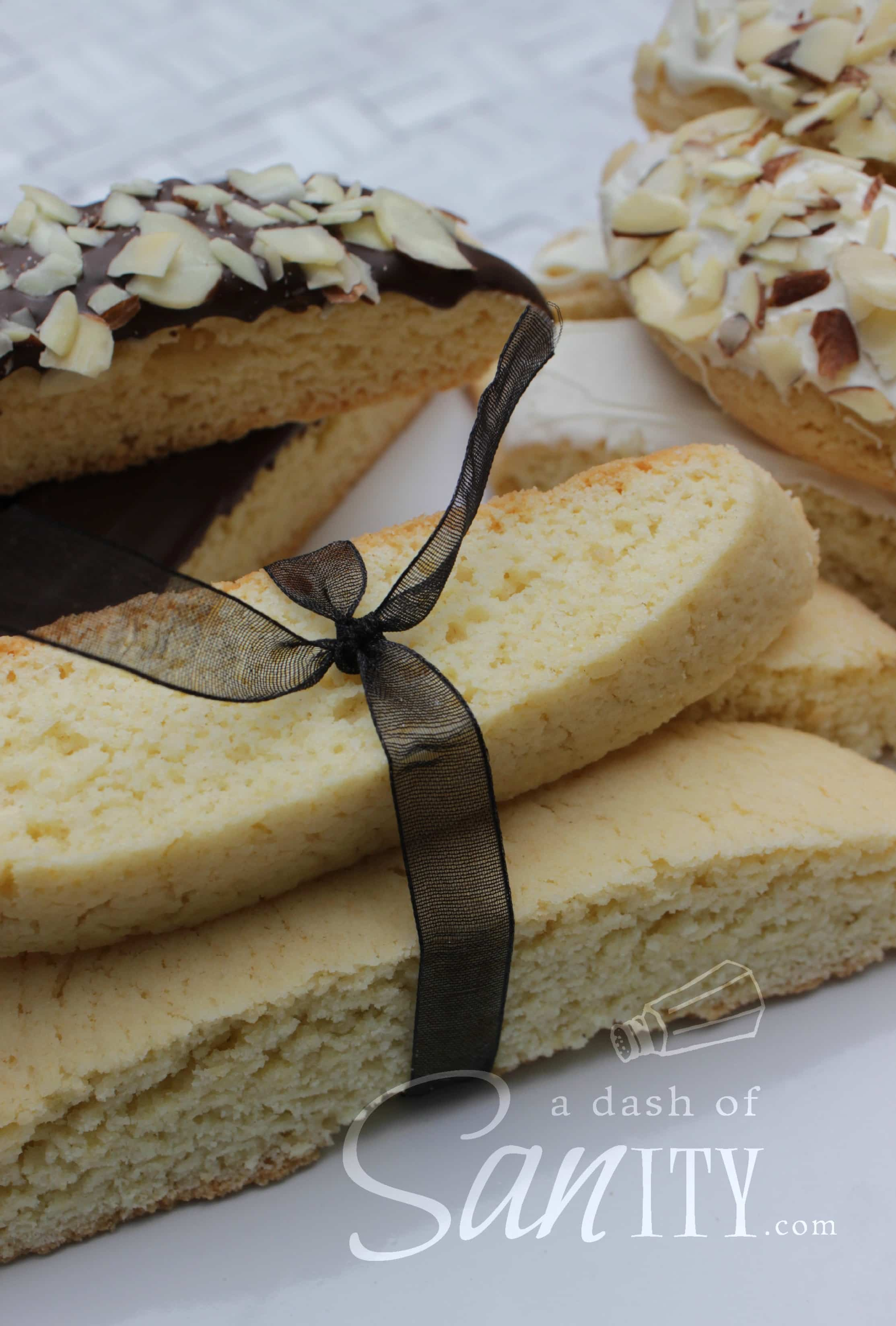 Italian Almond Biscotti is an almond-flavored twist on the classic Italian cookies. Crisp and sweet, these are a perfect pairing with your morning coffee.