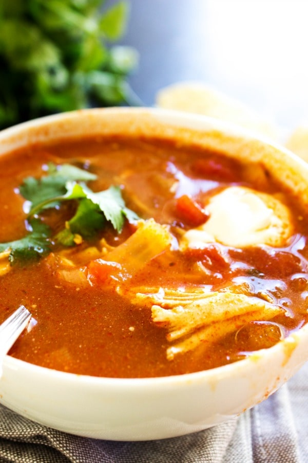 photo of tortilla soup garnished with cilantro