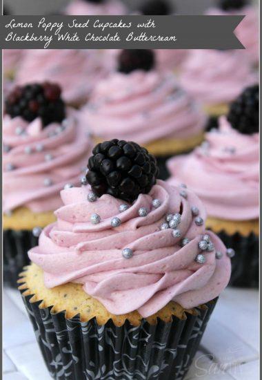 Lemon-Poppy Seed Cupcake with Blackberry White Chocolate Buttercream