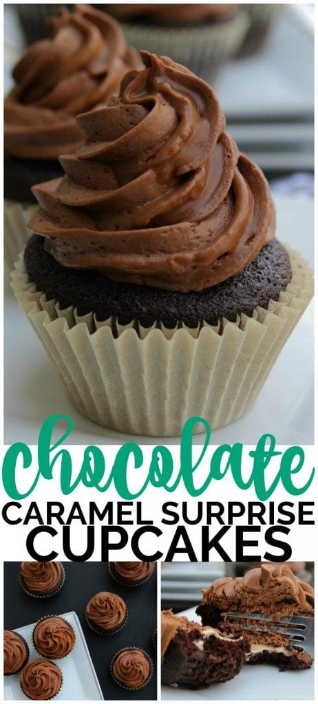 Chocolate Caramel Surprise Cupcakes pinterest image