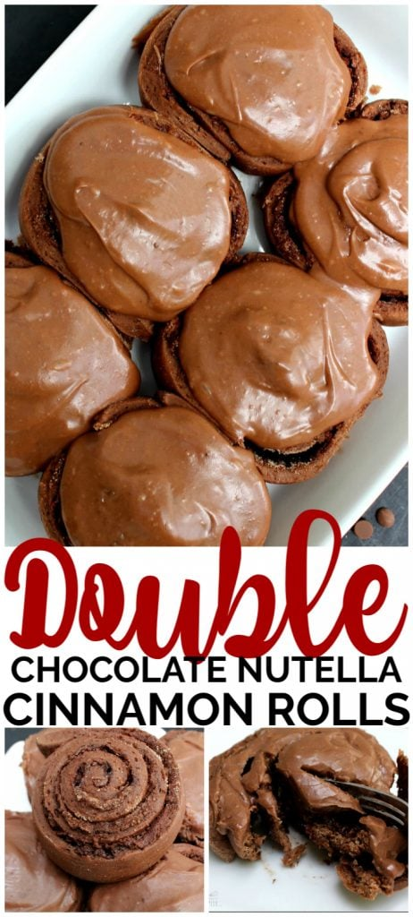 Double Chocolate Nutella Cinnamon Rolls pinterest image