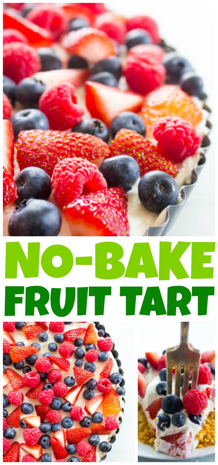 Insanely delicious & easy this Simple No-Bake Fruit Tart is made with an almond graham cracker crust, cream cheese filling, then topped with fresh fruit.