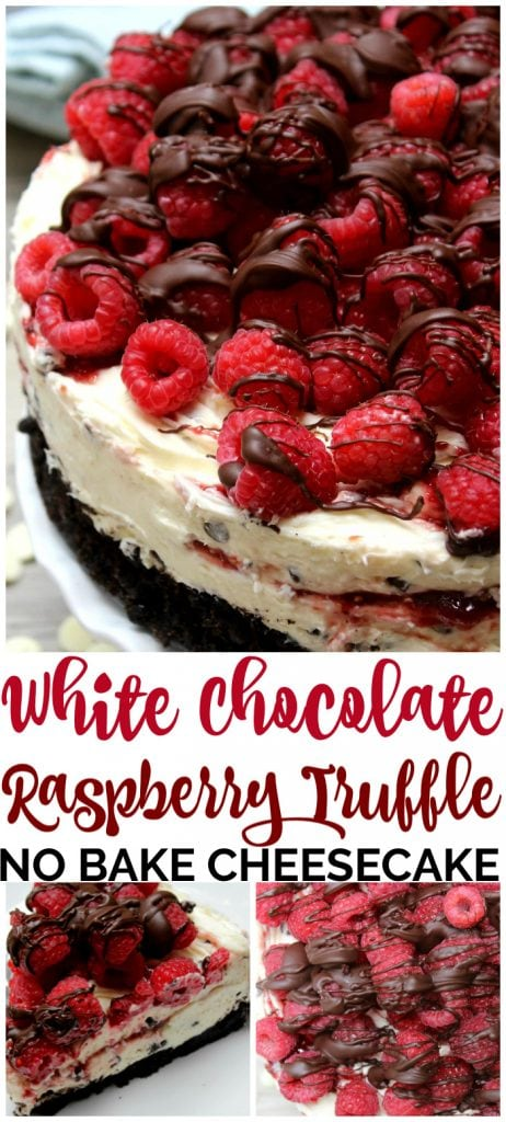 White Chocolate Raspberry Truffle No Bake Cheesecake pinterest image