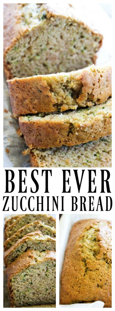 BEST EVER ZUCCHINI BREAD loaf and slices