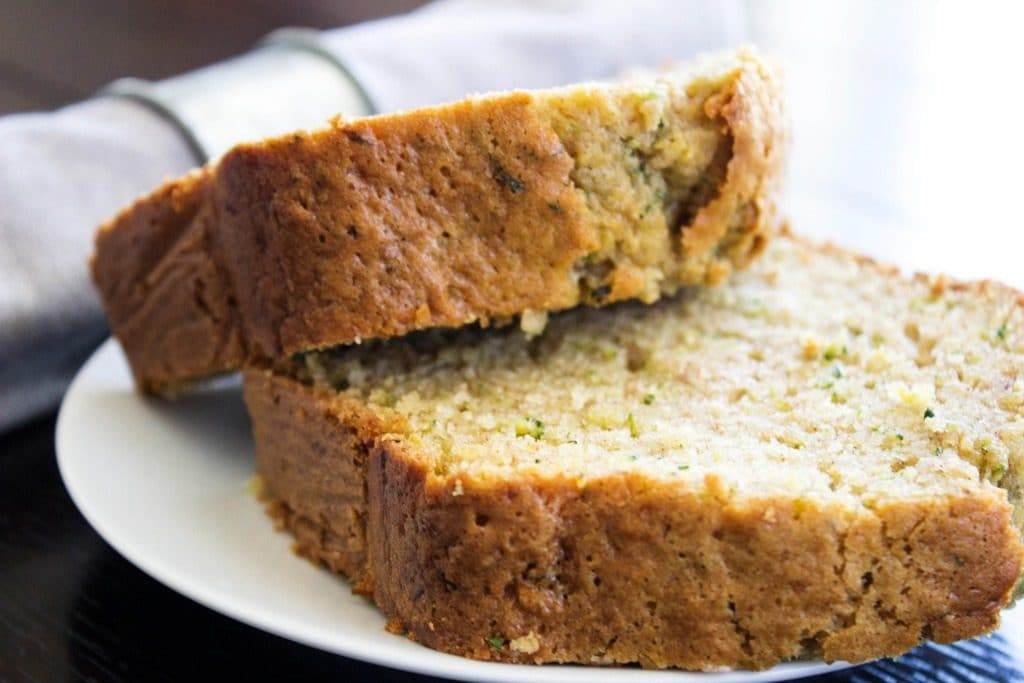 zucchini bread on a white plate