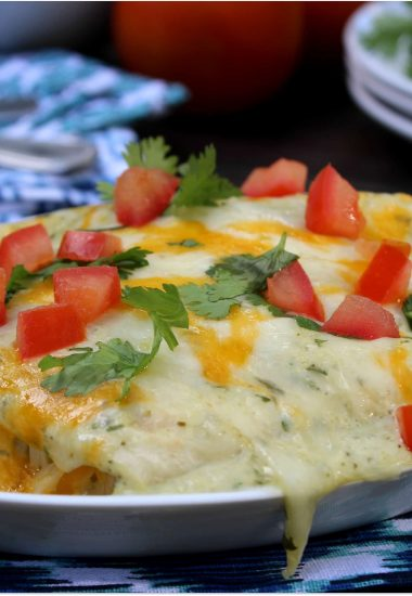 Zucchini Enchiladas with Roasted Green Chile Sauce