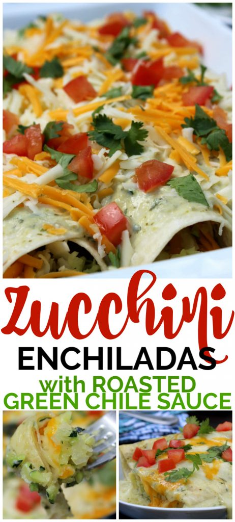 Zucchini Enchiladas with Roasted Green Chile Sauce pinterest image