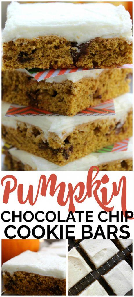 Pumpkin Chocolate Chip Cookie Bars pinterest image