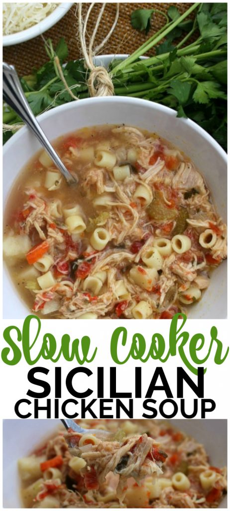 Slow Cooker Sicilian Chicken Soup pinterest image