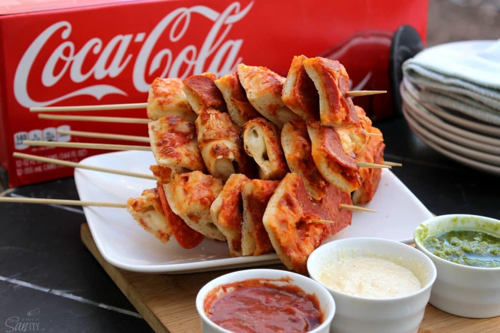 Pizza Kabobs Coke