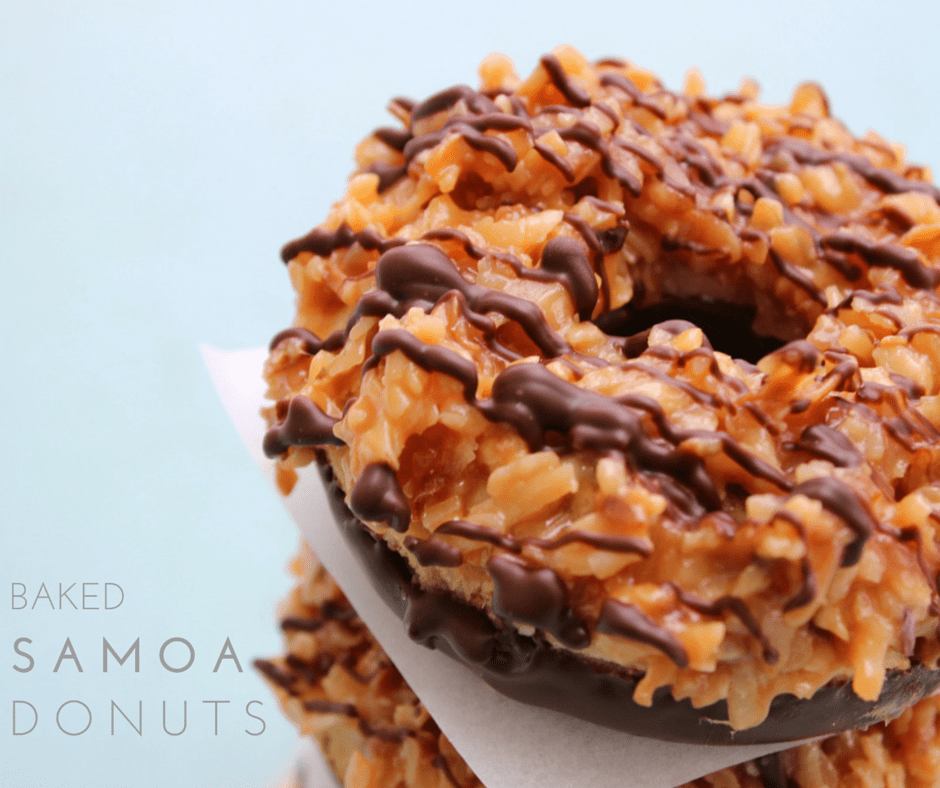 Samoa Donuts are like the real deal Girl Scout cookie but made with a soft, buttery, baked donut. Oh yeah, wipe the drool off the screen & make these ASAP.