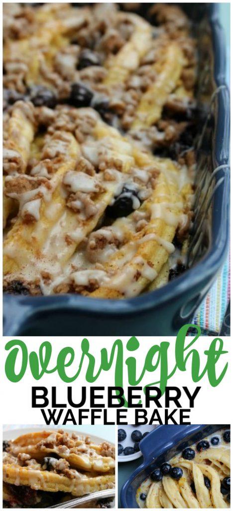 Overnight Blueberry Waffle Bake pinterest image