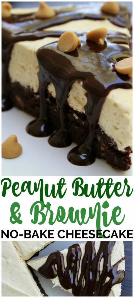 Peanut Butter & Brownie No-Bake Cheesecake pinterest image