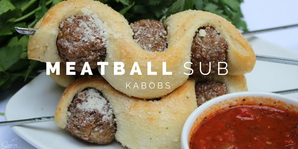 """Try these Meatball Sub Kabobs for a fun """"twist"""" on the classic meatball sub. An easy 30 minute meal that the kids are sure to love."""