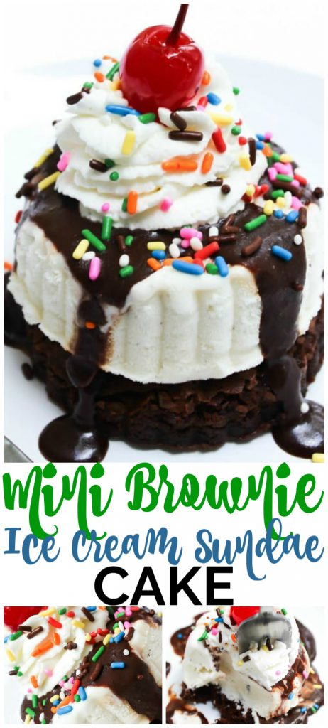 Mini Brownie Ice Cream Sundae Cakes pinterest image