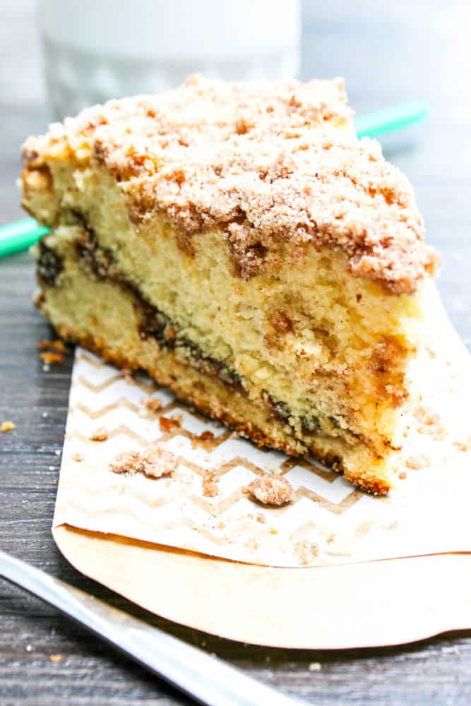 Reduced-Fat Cinnamon Swirl Coffee Cake cinnamon coffee cake slice on paper