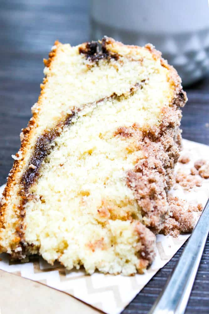Reduced-Fat Cinnamon Swirl Coffee Cake cinnamon coffee cake with crumb topping on side