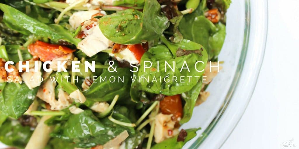 This Chicken & Spinach Salad with Lemon Vinaigrette made with roasted tomatoes, walnuts, and goat cheese is the perfect delicious summer salad.