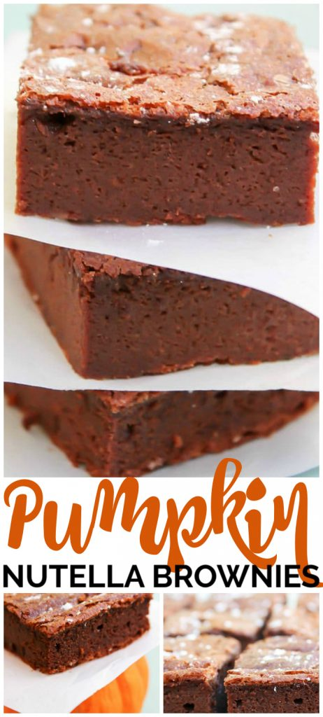 4-Ingredient Pumpkin Nutella Brownies pinterest image