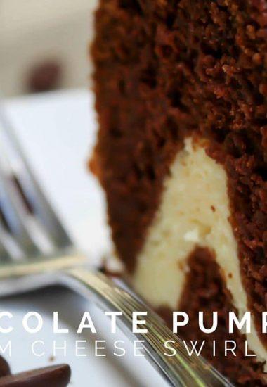 Chocolate Pumpkin Cream Cheese Swirl Cake