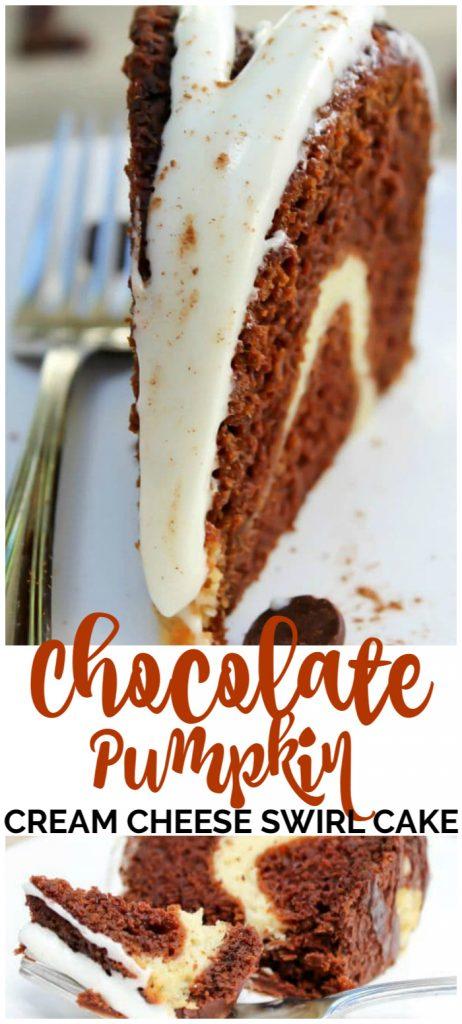 Chocolate Pumpkin Cream Cheese Swirl Cake pinterest image