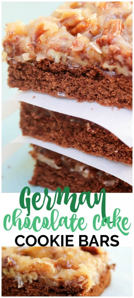 German Chocolate Cake Cookie Bars pinterest image