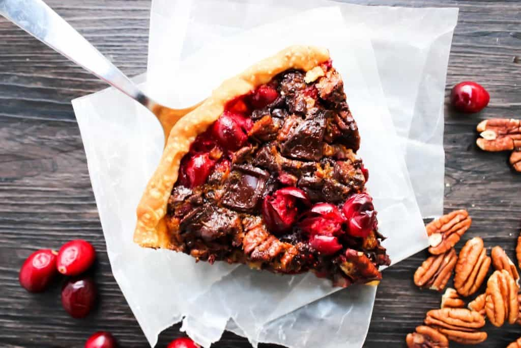 Chocolate Pecan Cranberry Pie slice