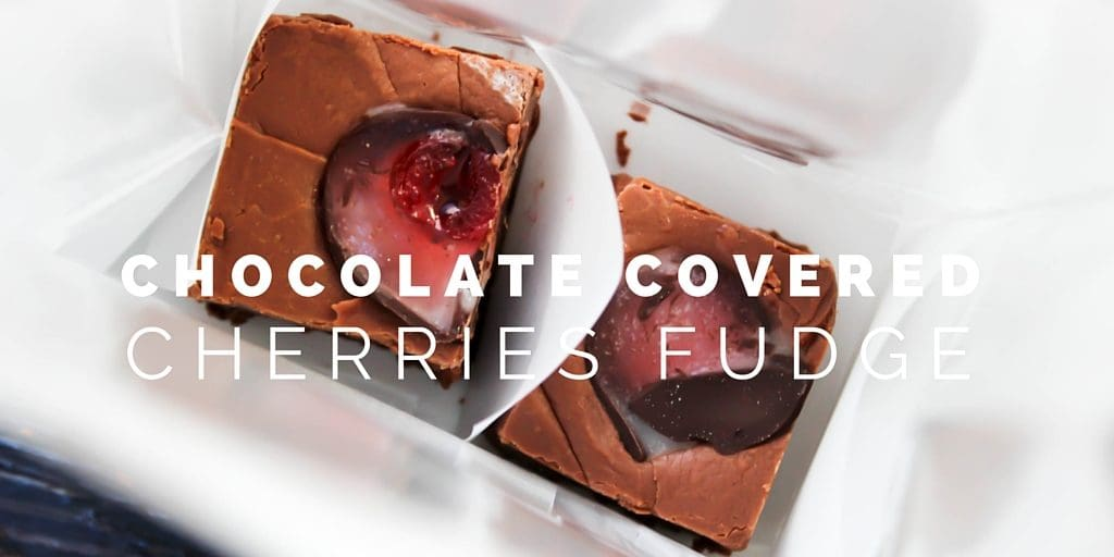 Chocolate Covered Cherries Fudge makes the perfect holiday treat. Taking chocolate covered cherries and placing them in the center of every fudgey bited