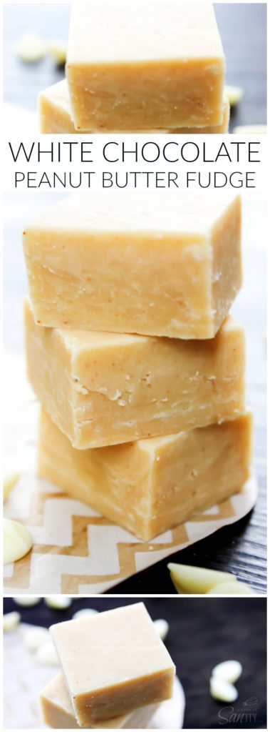 White Chocolate Peanut Butter Fudge - Simply delicious, you're only 4 ingredients away from chocolate & peanut butter perfection.