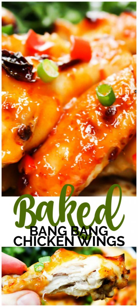 Baked Bang Bang Chicken Wings pinterest image