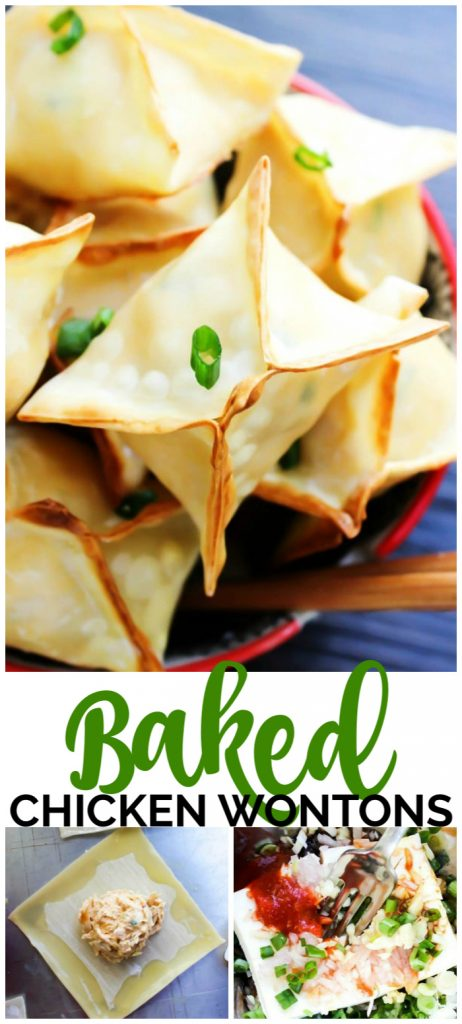 Baked Chicken Wontons pinterest image