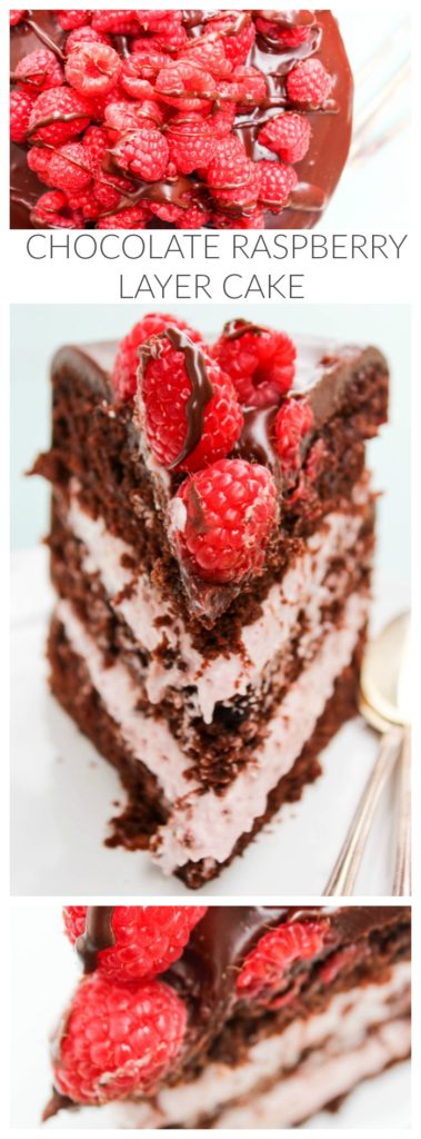 CHOCOLATE RASPBERRY LAYER CAKE, raspberries, chocolate cake, spoons, white plate