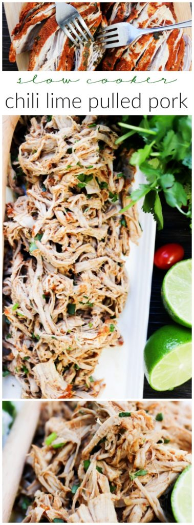 Slow Cooker Chili Lime Pulled Pork is made with a chili rub, fresh cilantro, and cooked in lime juice. This is the easiest, juiciest pulled pork recipe.