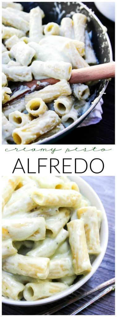 This Creamy Pesto Alfredo is an easy 20-minute meal made with pesto, Parmesan cheese, cream cheese, and heavy cream. You can't get much cheesier than this.