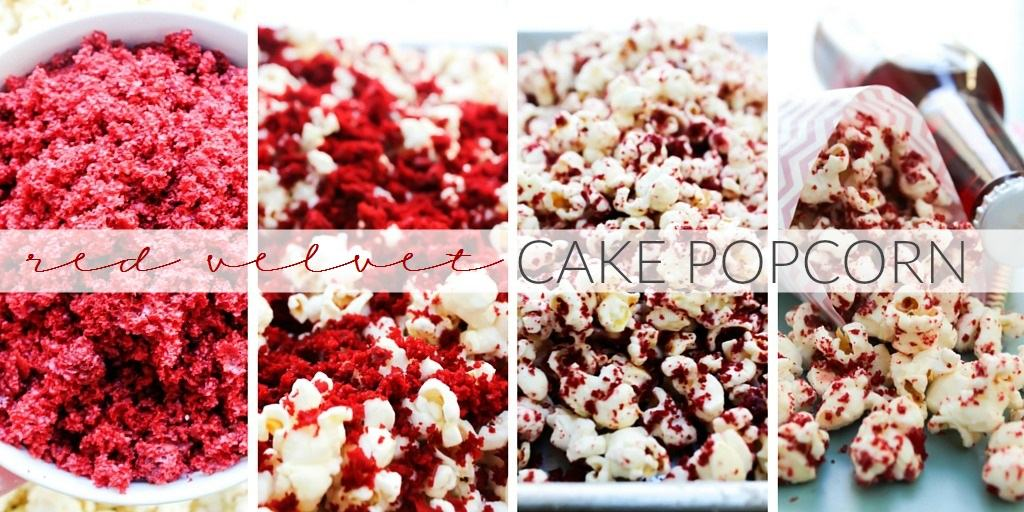 Red Velvet Cake Popcorn is a sinfully delicious snack, made with white chocolate coated popcorn covered in red velvet cake crumbs.