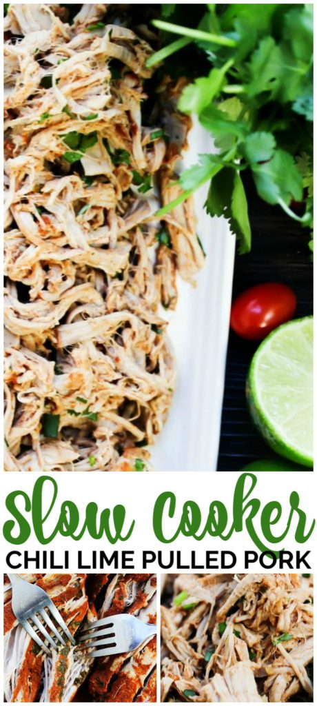 Slow Cooker Chili Lime Pulled Pork pinterest image