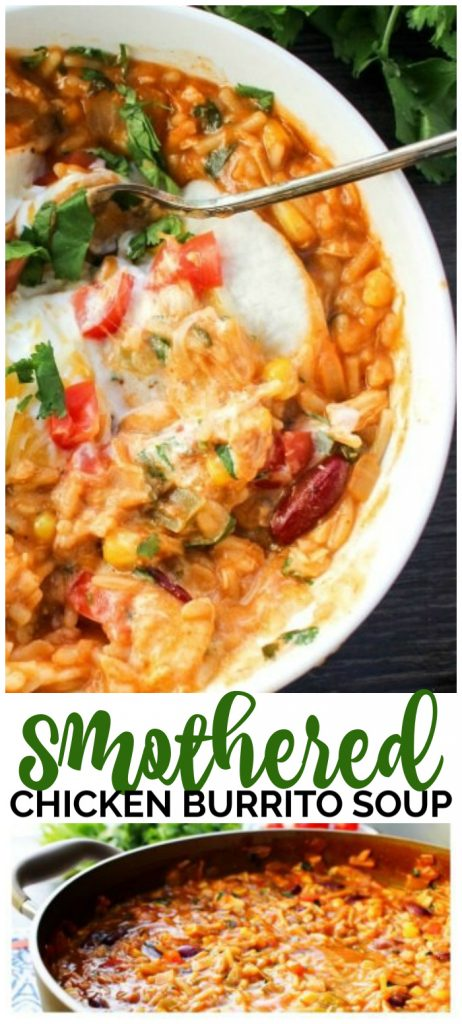 Smothered Chicken Burrito Soup pinterest image