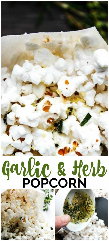 Garlic & Herb Popcorn pinterest image