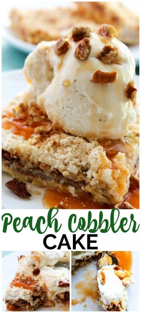 Peach Cobbler Cake pinterest image