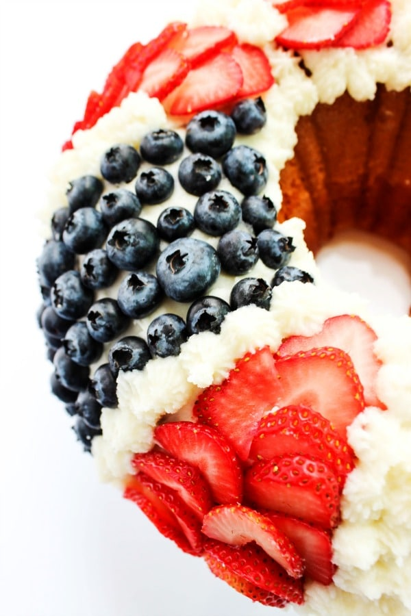 Red, White, & Blue Bundt Cake with Fresh Berries