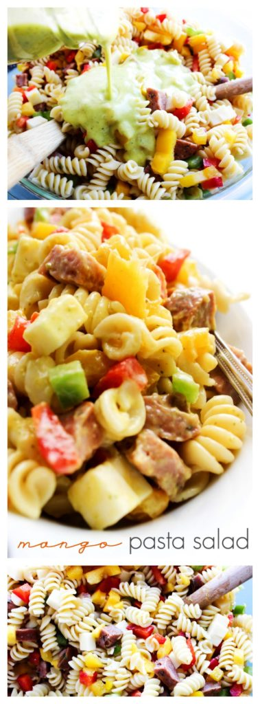 Mango Pasta Salad is a sweet and mildly spicy pasta salad made with fresh mangoes, peppers, sausage, and drizzled with a citrus vinaigrette.