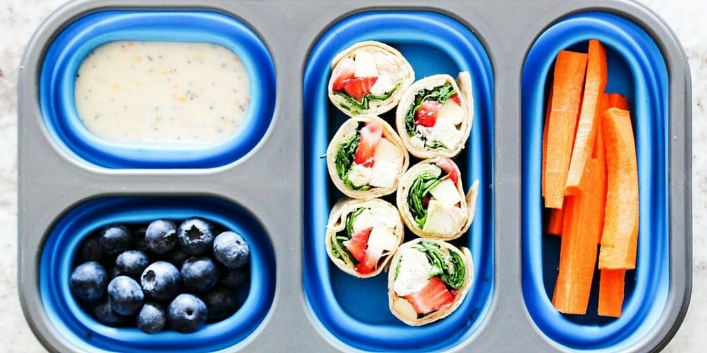 Strawberry Chicken Salad Wraps & Best Tips for Back to School Lunches -Wraps made with strawberries, chicken, mozzarella cheese, spinach and poppy seed dip.