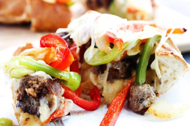 sausage-pepper-stuffed-bread-fork