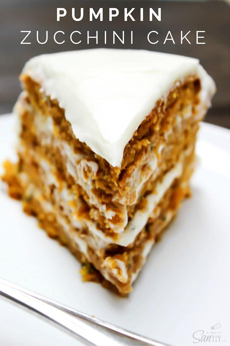 Pumpkin Zucchini Cake with cream cheese frosting