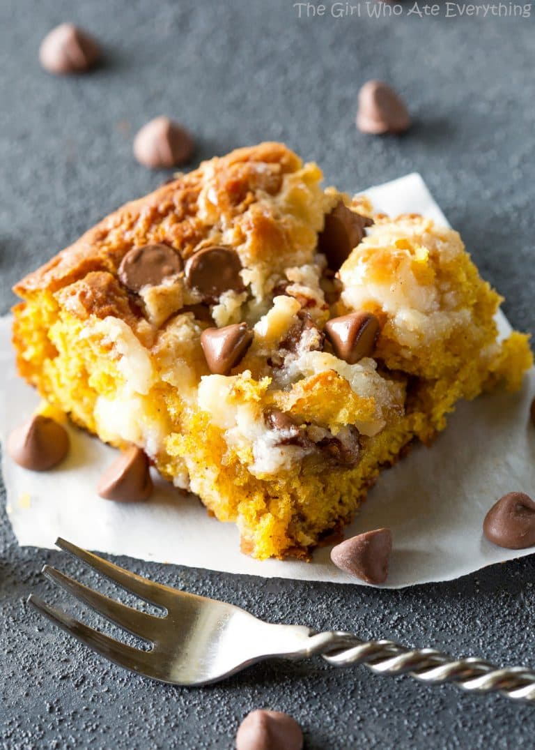 Pumpkin Earthquake Cake chocolate chips, pecans, cream cheese swirl, and coconut