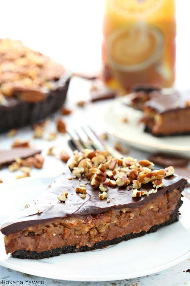 No-Bake Chocolate Pecan Pie oreo pie crust, chocolate cheesecake, pecan pie filling, chocolate ganache