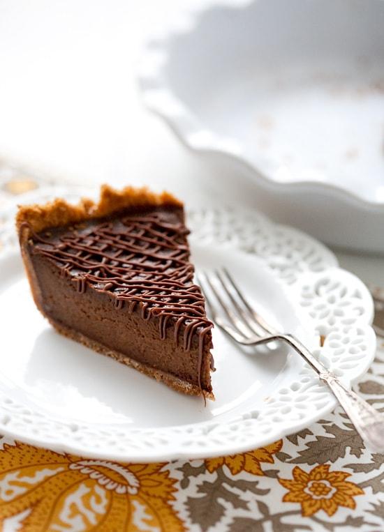 Triple Chocolate Pumpkin Pie chocolate frosting, pie filling and ganache