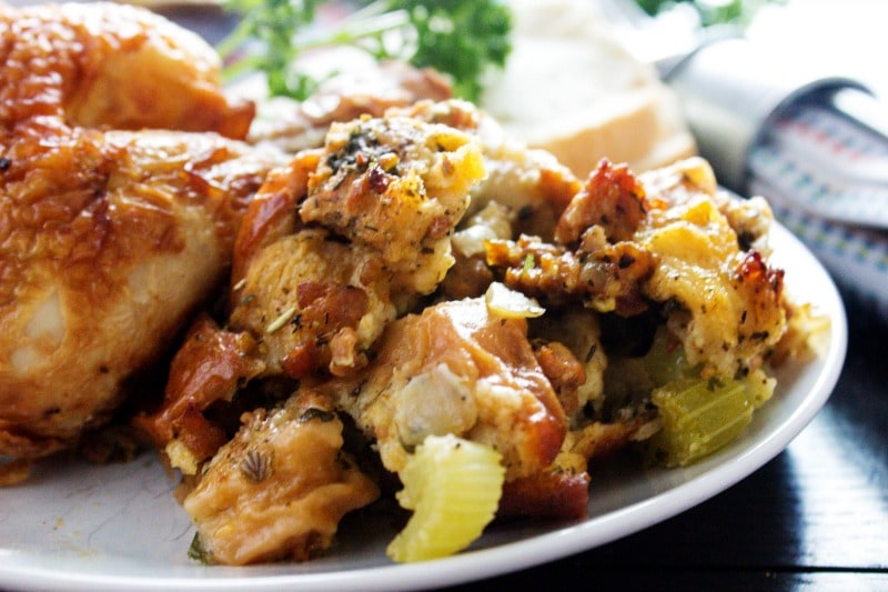 Best Ever Italian Stuffing is my mom's classic Italian stuffing. It's a tradition passed down from my grandma. This will never miss our Thanksgiving table. best-ever-italian-stuffing-chicken