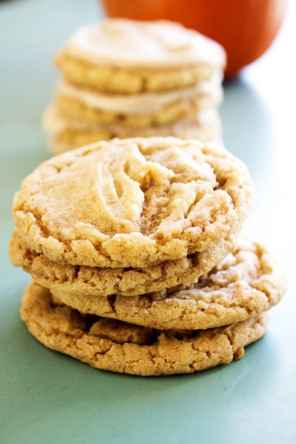 These Pumpkin Spice Sugar Cookies are a delicious fall treat. It is the season of pumpkin, spice and everything nice, which is why I love this time of year! pumpkin-spice-sugar-cookies-no-frosting